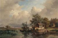 paysage marecageux en hollande animé d'une jeune femme à la lessive et d'un pêcheur dans une chaloupe au bord de la rive by frederik marinus kruseman