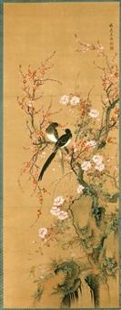 couple de pies posé sur des branches de cerisiers en fleurs by yamamoto baiitsu