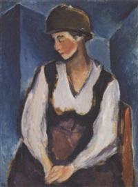 portræt af dame med rund hat by georg jacobsen