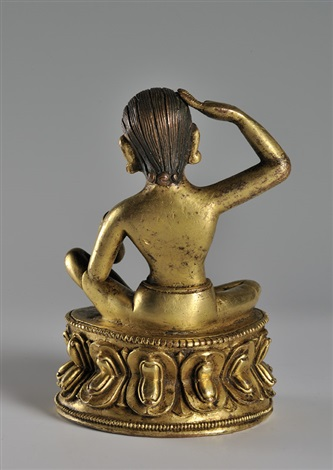 a gilt bronze figure of milarepabrtibet early 18th century height 125 cm