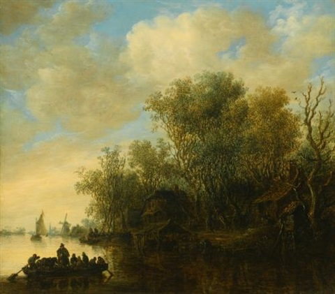 a river landscape with a fully laden ferry boat approaching a busy river bank by jan josefsz van goyen
