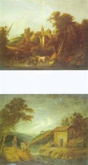 paisaje con figura by vicente camaron y torra