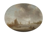 a river landscape with figures in rowing boats near a jetty, sailing vessels and a castle beyond by jan coelenbier