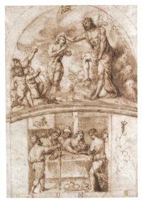 the baptism of christ above, salome with the head of john the baptist below (design for the decoration of a chapel) by stefano dall' arzere