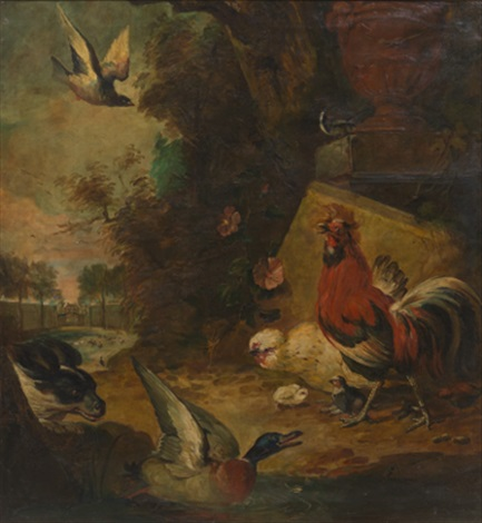fowl and a king charles spaniel in a garden setting by continental school 19