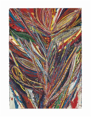 untitled standard lotus no ii bird of paradise tiger mouth face 4401 by mark grotjahn