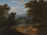 a landscape with travellers on a path by mathys schoevaerdts