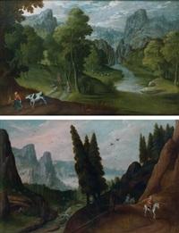 paysage montagneux avec une rivière animé de cavaliers (+ paysage montagneux avec une rivière animé de cavaliers et de promeneurs; pair) by tobias verhaecht