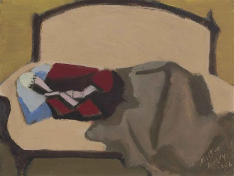 sleeping woman on sofa by milton avery