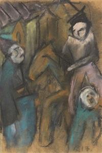 2 blätter: figuren und reiter. sonnenblumen (2 works) by arnold blome