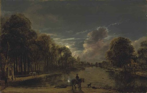a moonlit wooded landscape with a rider and other figures by a canal, a village beyond by aert van der neer