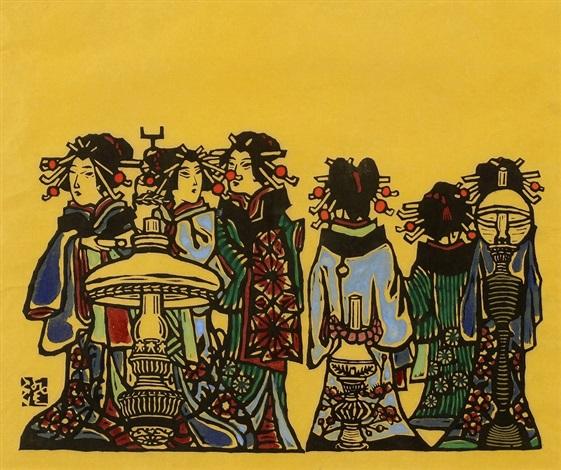women and street lamp by sumio kawakami