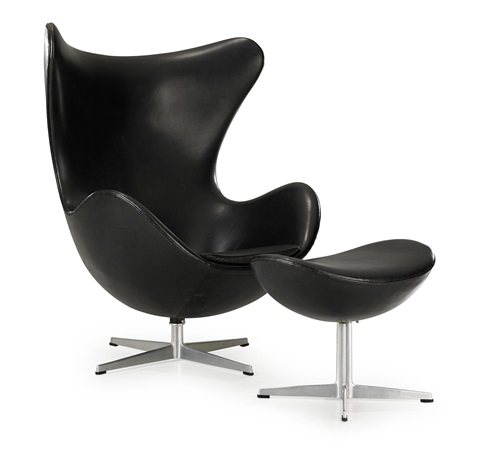 ägget armchair and footstool set of 2 by arne jacobsen