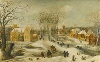 winter landscape with travellers passing through an avenue of trees by philips de momper the elder