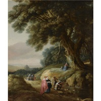 a wooded landscape with elegant travellers and huntsmen on a path, with a woman and a child praying at a shrine by gillis (egidius i) peeters