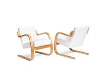 34/402 armchairs (pair) by alvar aalto