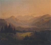 bayerische voralpenlanscshaft mit blick auf das hochgebirge by wilhelm fries
