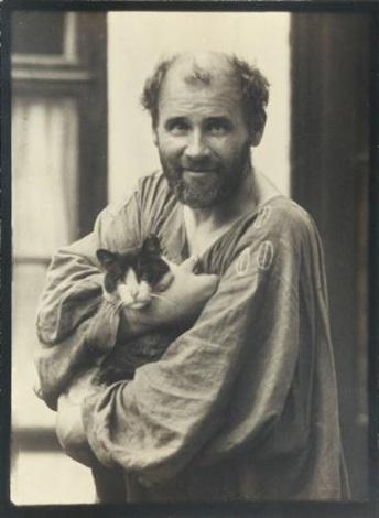 portrait de gustav klimt avec son chat by moritz nähr