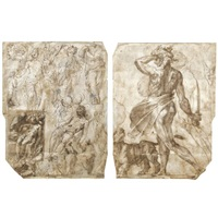 sheet of studies including a pietà and several figures (+ a nude man, almost in profile, standing beside a lion and holding a sword, with two separate studies of a right leg, verso) by perino del vaga