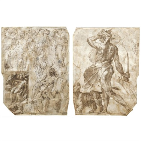 sheet of studies including a pietà and several figures a nude man almost in profile standing beside a lion and holding a sword with two separate studies of a right leg verso by perino del vaga