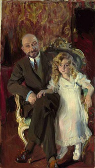 portrait of carlos urcola ibarra with his daughter, eulalia by josé marie de la bastida y fernandez