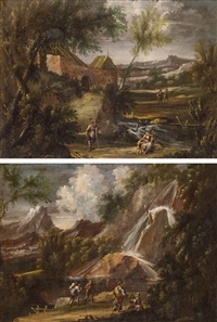 pendants - südliche landschaft mit gutshof und südliche landschaft mit wasserfall (2 works) by alessandro magnasco