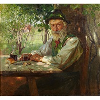 resting in a sunlit garden by hermann hartwich