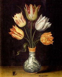bouquet de tulipes dans un vase, avec insectes by ambrosius bosschaert the younger