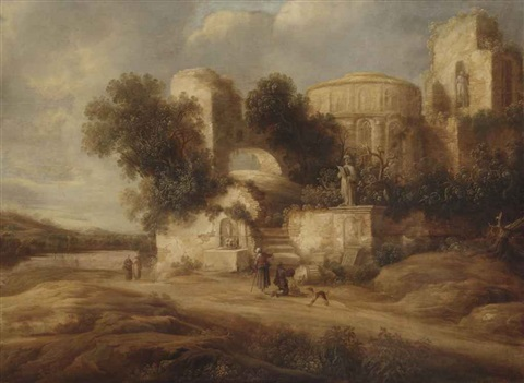 travellers by ancient ruins with a man praying to a statue by charles cornelisz de hooch