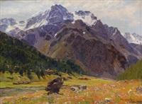 alpenwiese mit bergmassiv by adolf fischer-gurig