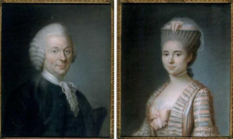 portrait de jeune femme au ruban rose portrait dhomme pair by marie elisabeth ozanne
