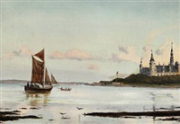 view of øresund with kronborg castle, in the foreground men rowing by ioannis (jean h.) altamura