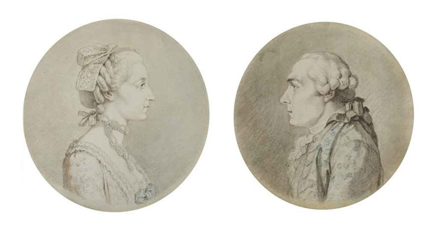 portrait de jean le rond dalembert portrait de julie lespinasse pair by augustin de saint aubin