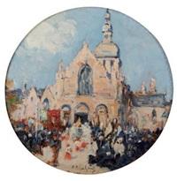 procession à dinard devant l'église saint enogat by fernand marie eugène legout-gérard