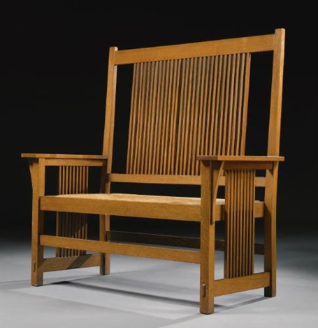rare tall-back spindle settle (model no.286) by gustav stickley
