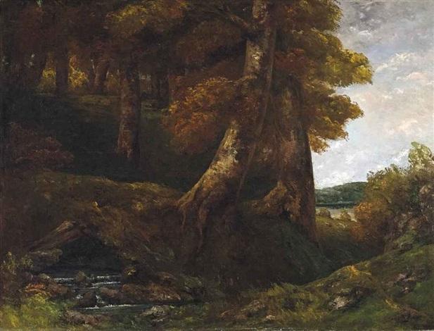 entrée de forêt by gustave courbet