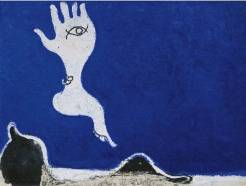amalassunta su fondo blu by osvaldo licini