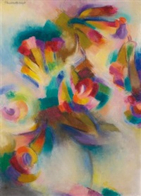 trumpet flowers by stanton macdonald-wright