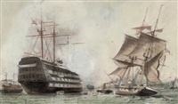 "h.m.s. ""victory"" lying on her permanent mooring in portsmouth harbour by william edward atkins"