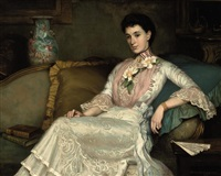 portrait of a lady in a white dress and pink collar, in a interior by allan douglas davidson