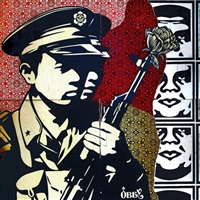chinese soldiers (4 panels) by shepard fairey
