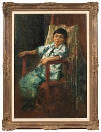 portrait d'une petite fille chinoise assise dans un fauteuil by alfred théodore joseph bastien