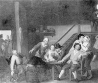 the interior of a tavern with figures seated around a table by hendrik jacob hoet