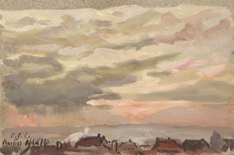 sunset and cloud above rooftops in chartres france by colin campbell cooper
