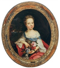 portrait of a young girl holding flowers in a landscape by pierre mignard the younger