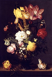 a tulip, a yellow iris, a sprig of moss rose, a snake's head fritillery, roses, peonies, forget-me-not, lily of the valley and other blooms in a bronze vase with gilt mounts, on a ledge by ambrosius bosschaert the younger