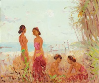 women on a beach by adrien jean le mayeur de merprés