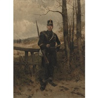 soldier in a landscape by hermanus willem koekkoek