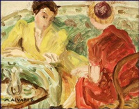 two women at tea by mabel alvarez