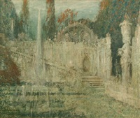palace gardens and fountain in caprarola, italy by george wharton edwards